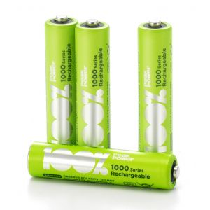 AAA Rechargeable 1000 Series 100%PeakPower NiMH Batteries - Card of 4