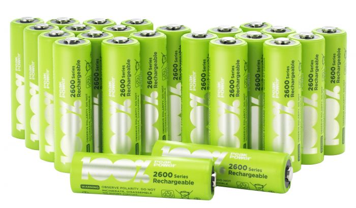 Aa Rechargeable 2300mah 100 Peakpower Nimh Batteries Pack Of 24